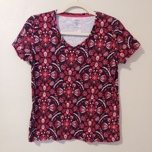 Croft & Barrow floral geo classic v neck tee red